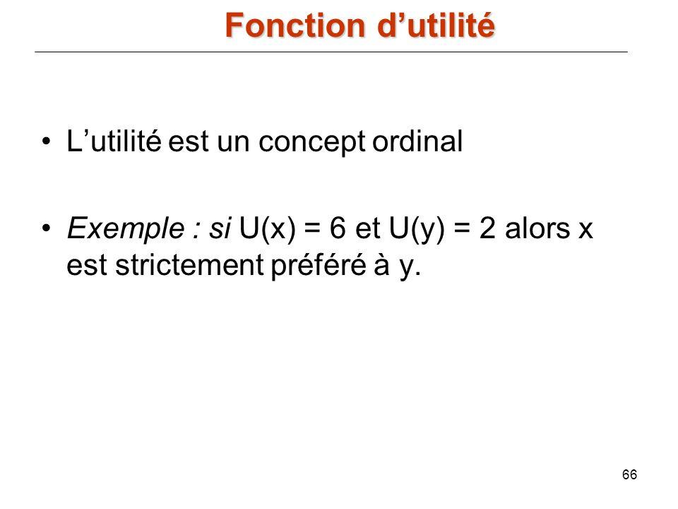 66 Lutilité est un concept ordinal Exemple : si U(x) = 6 et U(y) = 2 alors x est strictement préféré à y. Fonction dutilité