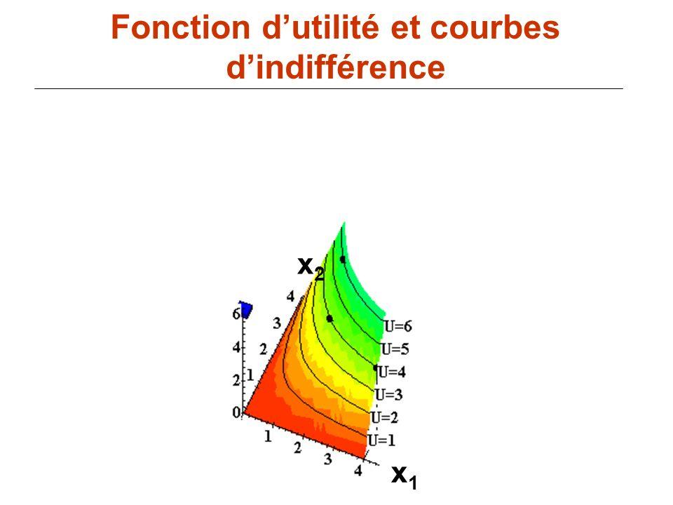 79 x1x1 Fonction dutilité et courbes dindifférence x2x2