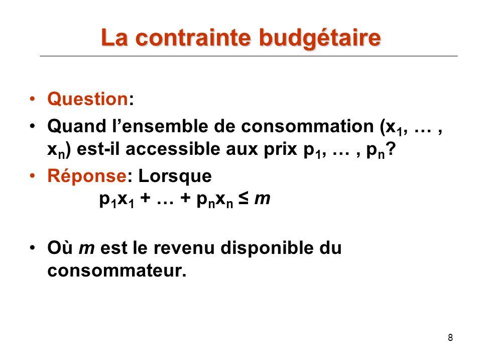 8 Question: Quand lensemble de consommation (x 1, …, x n ) est-il accessible aux prix p 1, …, p n ? Réponse: Lorsque p 1 x 1 + … + p n x n m Où m est