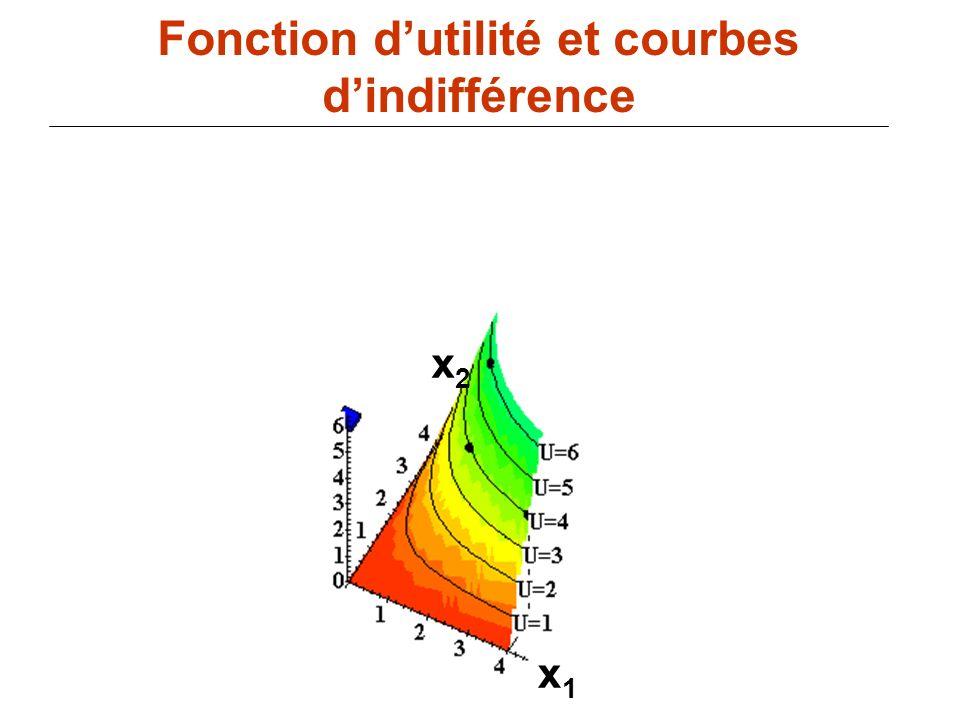 80 x1x1 Fonction dutilité et courbes dindifférence x2x2