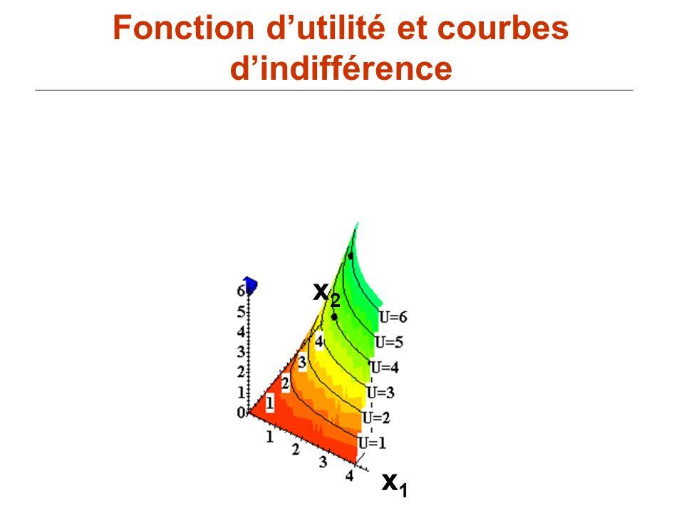 81 x1x1 Fonction dutilité et courbes dindifférence x2x2