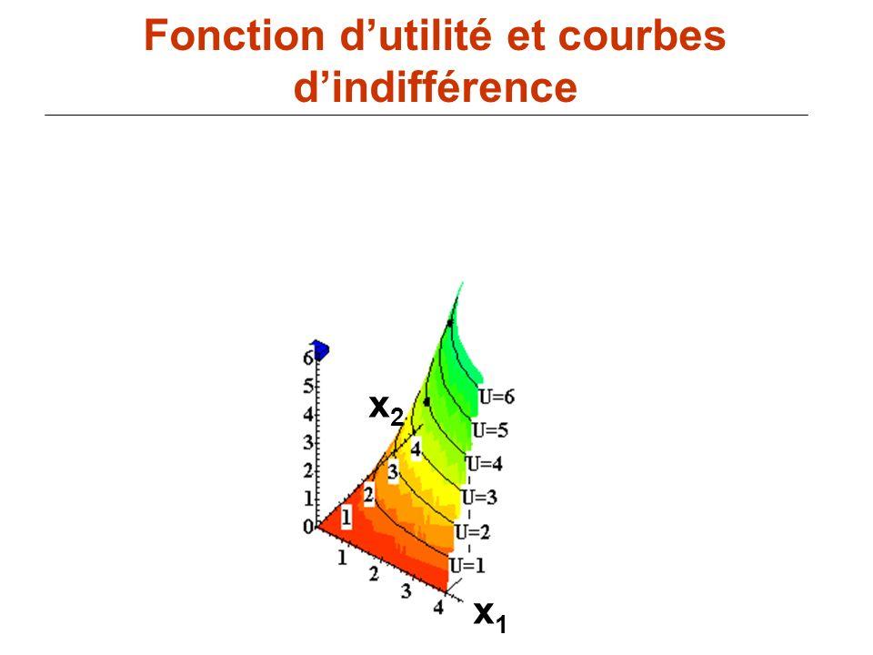 82 x1x1 Fonction dutilité et courbes dindifférence x2x2