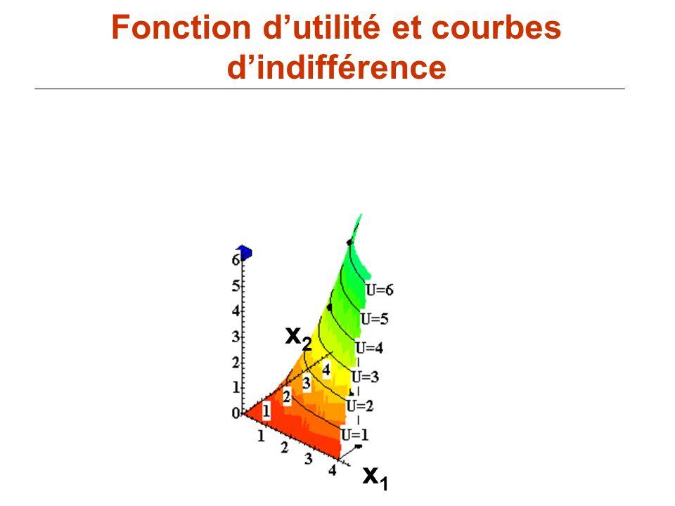 84 x1x1 Fonction dutilité et courbes dindifférence x2x2