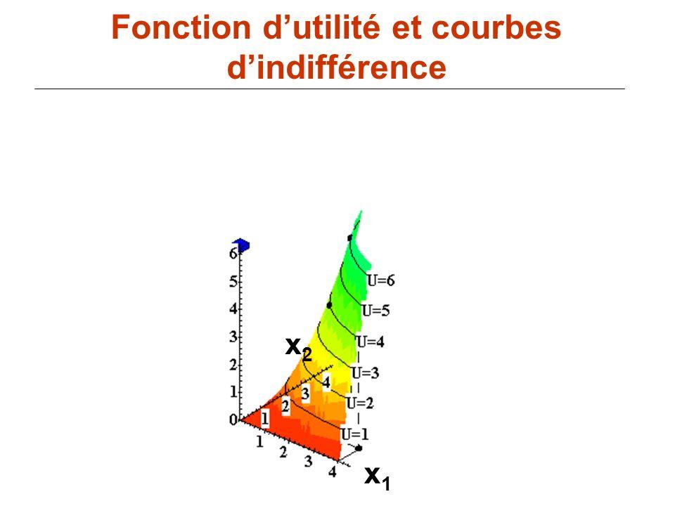 85 x1x1 Fonction dutilité et courbes dindifférence x2x2