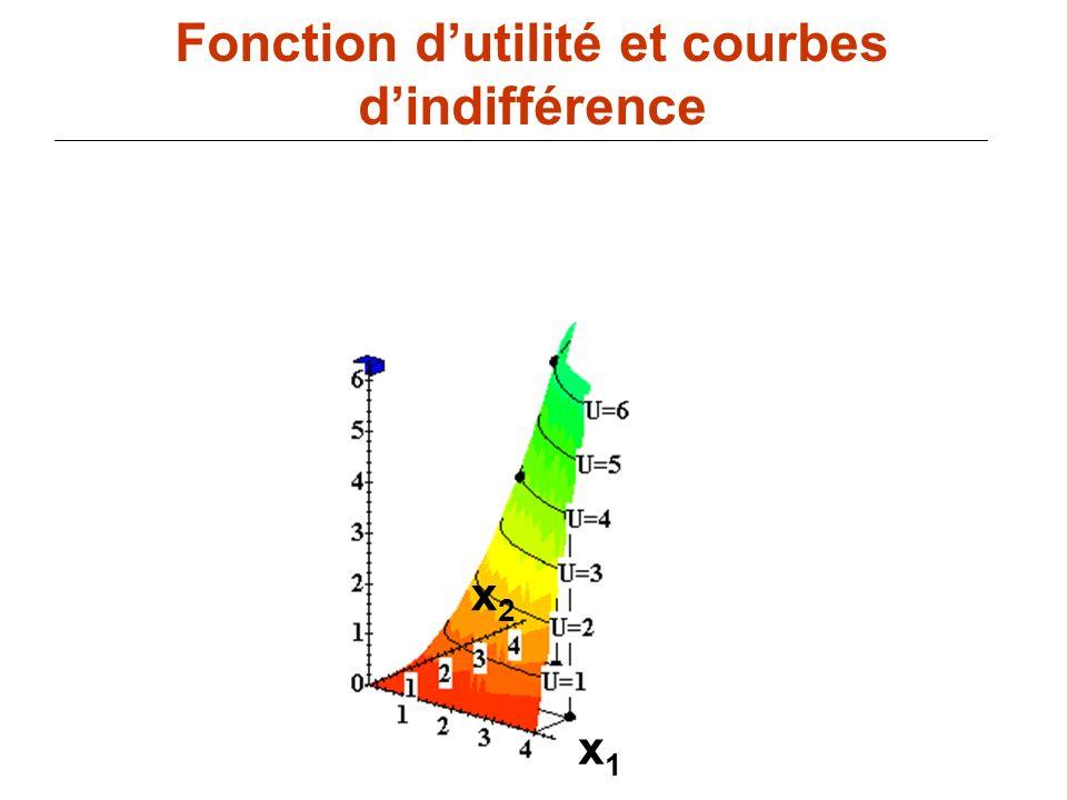 87 x1x1 Fonction dutilité et courbes dindifférence x2x2