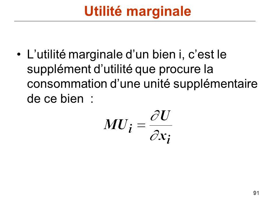 91 Lutilité marginale dun bien i, cest le supplément dutilité que procure la consommation dune unité supplémentaire de ce bien : Utilité marginale