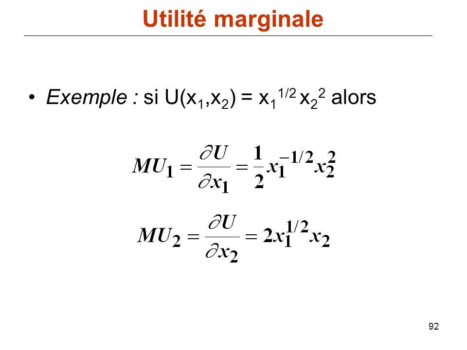 92 Exemple : si U(x 1,x 2 ) = x 1 1/2 x 2 2 alors Utilité marginale