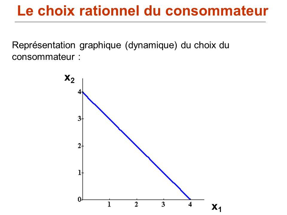 98 x1x1 x2x2 Représentation graphique (dynamique) du choix du consommateur : Le choix rationnel du consommateur