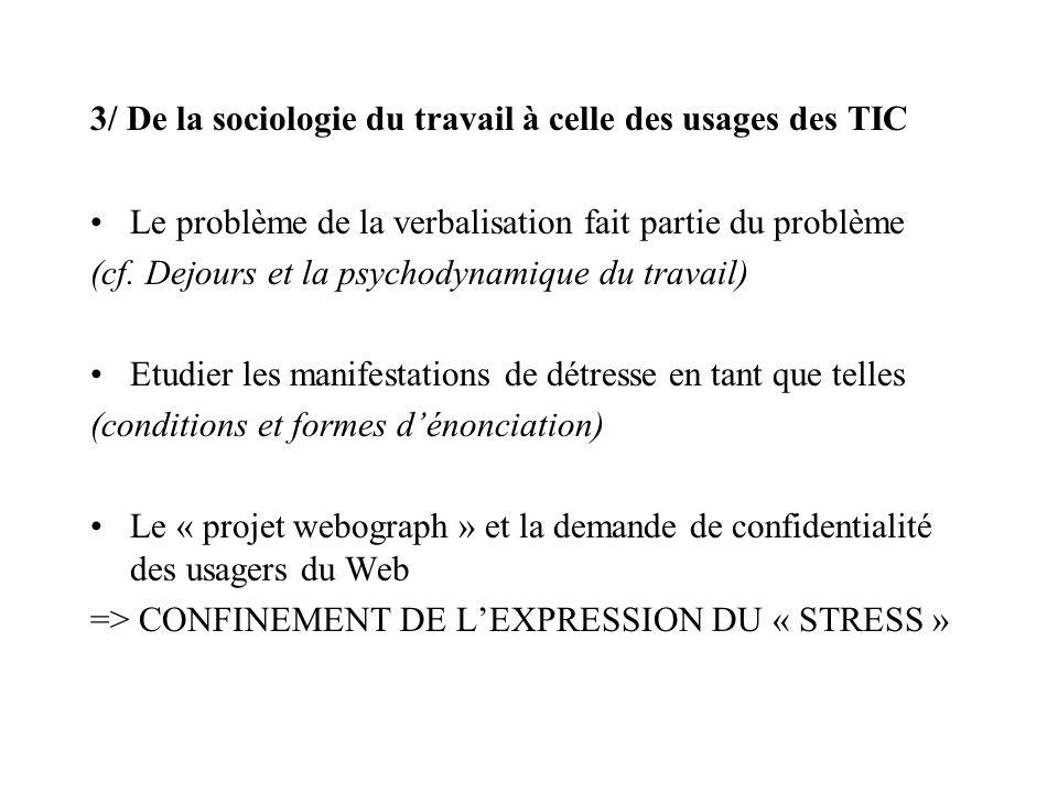3/ De la sociologie du travail à celle des usages des TIC Le problème de la verbalisation fait partie du problème (cf.