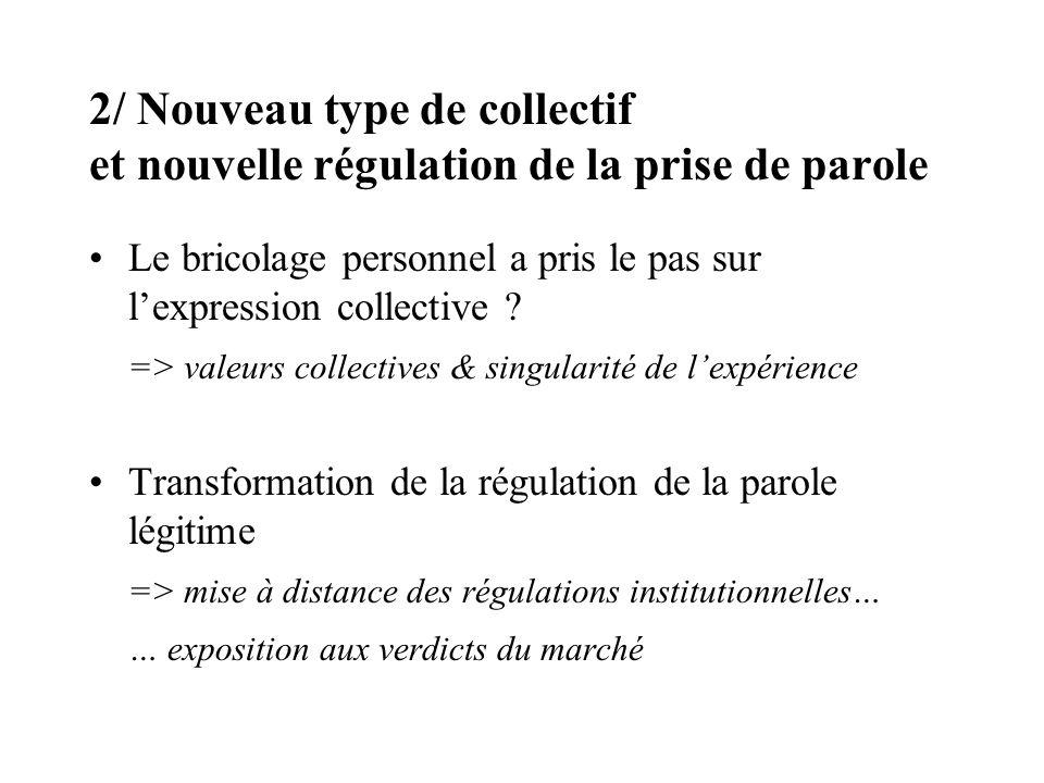 2/ Nouveau type de collectif et nouvelle régulation de la prise de parole Le bricolage personnel a pris le pas sur lexpression collective .