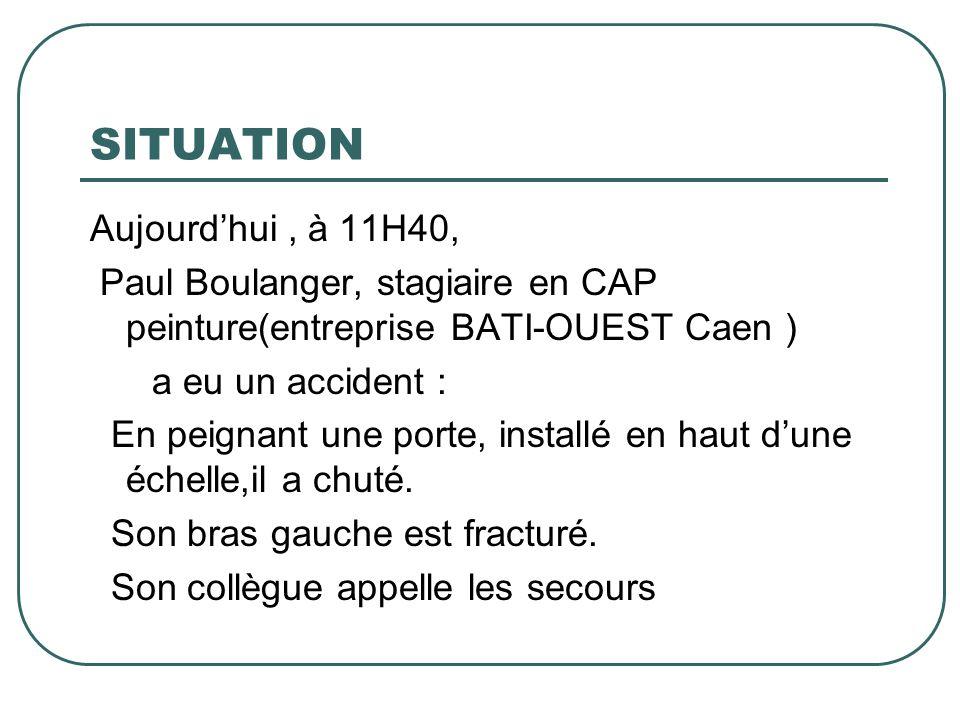 SITUATION Aujourdhui, à 11H40, Paul Boulanger, stagiaire en CAP peinture(entreprise BATI-OUEST Caen ) a eu un accident : En peignant une porte, instal