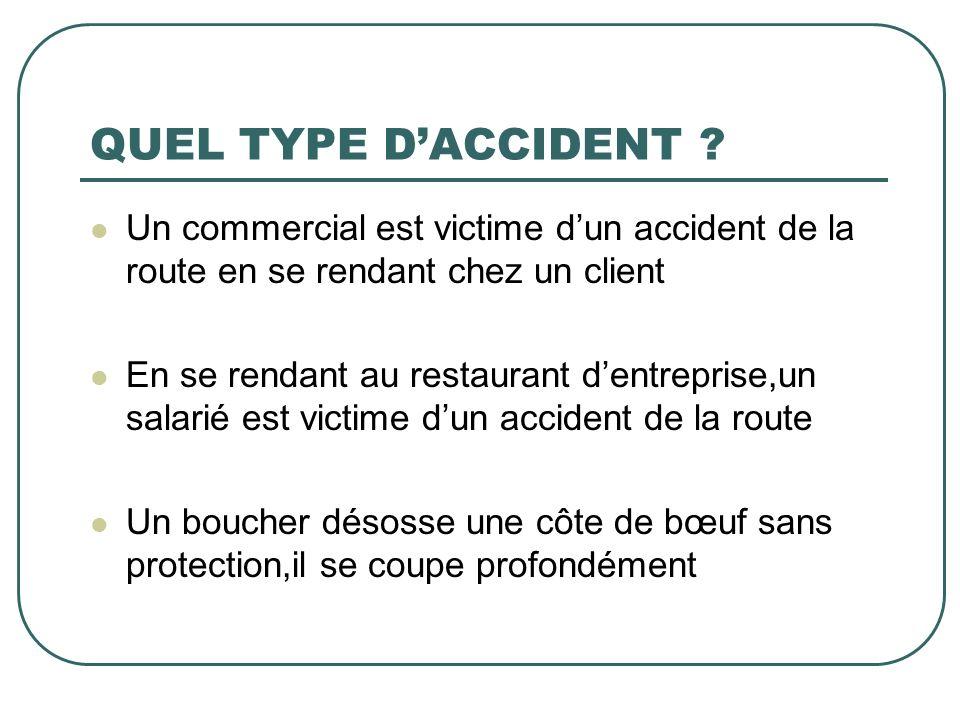 QUEL TYPE DACCIDENT ? Un commercial est victime dun accident de la route en se rendant chez un client En se rendant au restaurant dentreprise,un salar