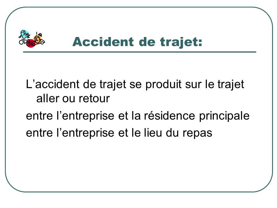 Accident de trajet: Laccident de trajet se produit sur le trajet aller ou retour entre lentreprise et la résidence principale entre lentreprise et le