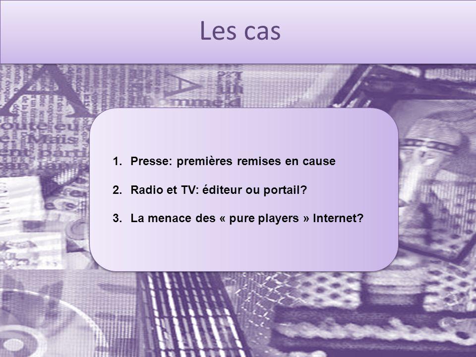 Les cas 1.Presse: premières remises en cause 2.Radio et TV: éditeur ou portail.