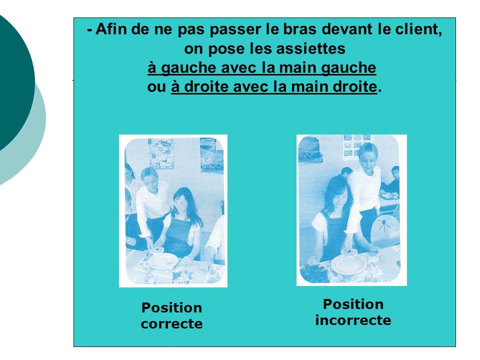 - En déposant lassiette devant le client, prendre soin que lélément principal soit en bas de lassiette Placement incorrect Placement correct