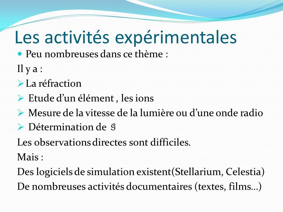 Les activités expérimentales Peu nombreuses dans ce thème : Il y a : La réfraction Etude dun élément, les ions Mesure de la vitesse de la lumière ou dune onde radio Détermination de G Les observations directes sont difficiles.