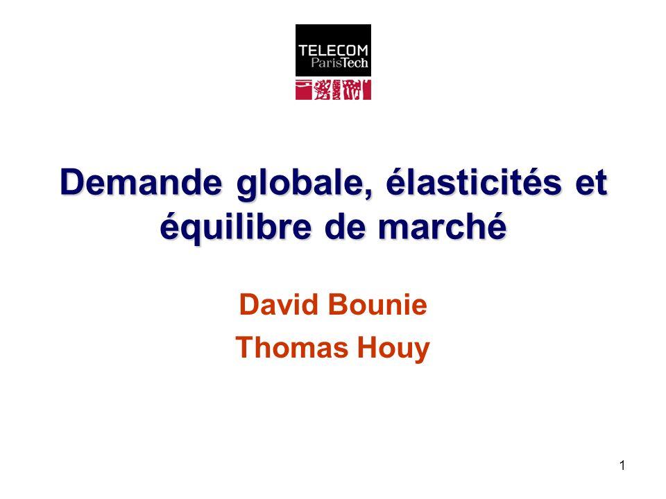 1 Demande globale, élasticités et équilibre de marché David Bounie Thomas Houy