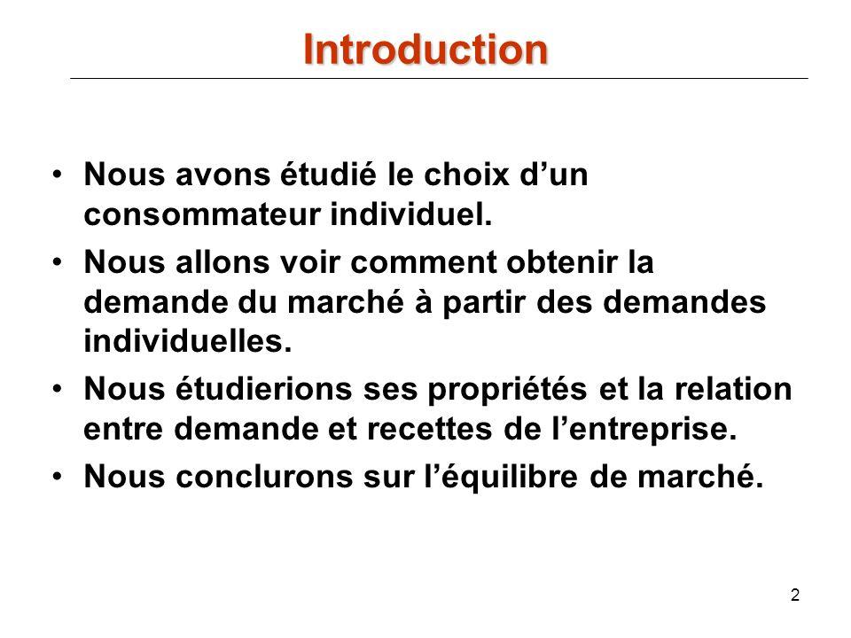 43 Exemple avec une fonction de demande inverse linéaire : alors et Recette marginale et élasticité prix directe