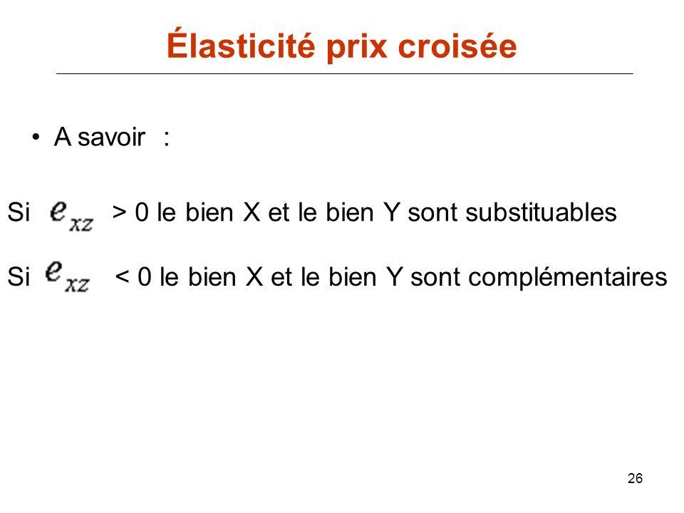 26 Élasticité prix croisée A savoir : Si> 0 le bien X et le bien Y sont substituables Si< 0 le bien X et le bien Y sont complémentaires