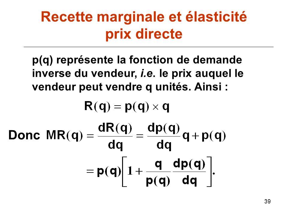 39 p(q) représente la fonction de demande inverse du vendeur, i.e. le prix auquel le vendeur peut vendre q unités. Ainsi : Donc Recette marginale et é