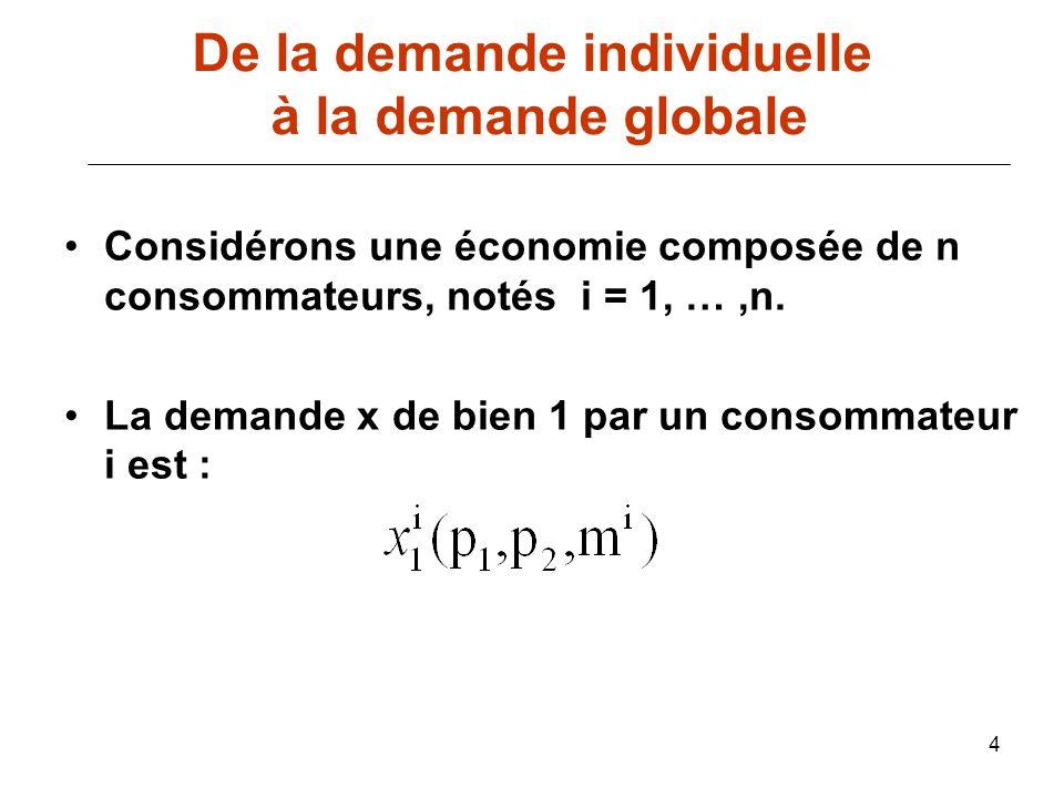 4 Considérons une économie composée de n consommateurs, notés i = 1, …,n. La demande x de bien 1 par un consommateur i est : De la demande individuell