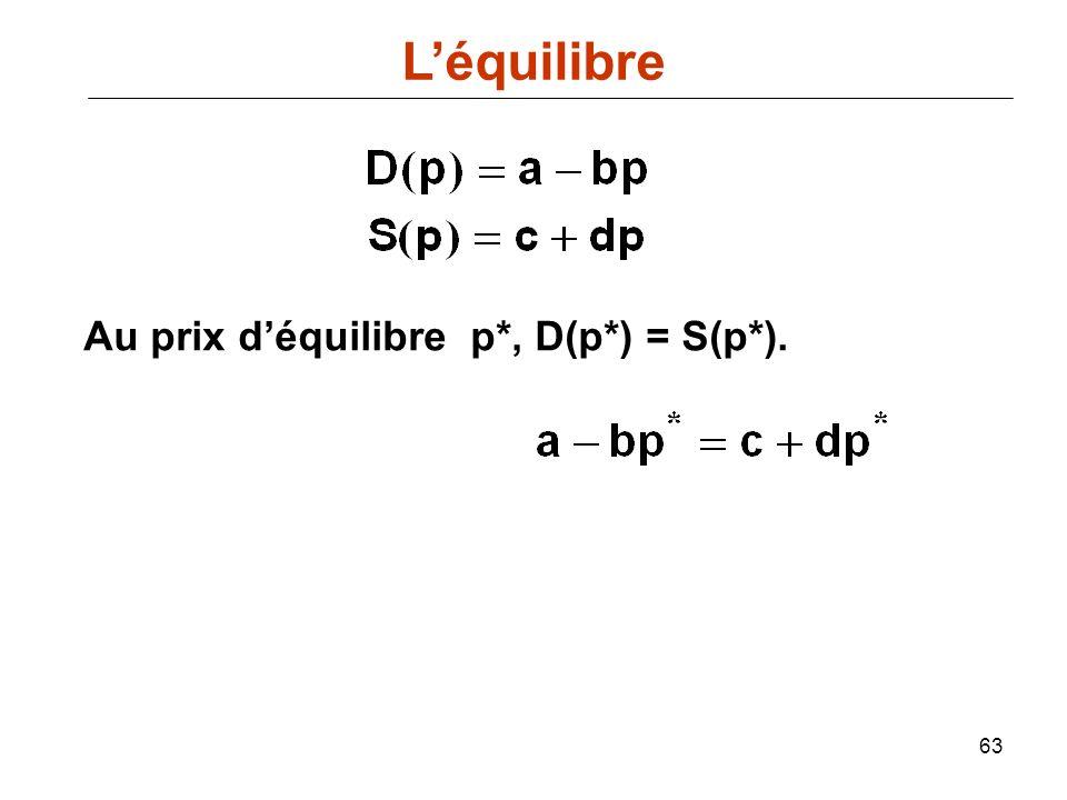 63 Au prix déquilibre p*, D(p*) = S(p*). Léquilibre