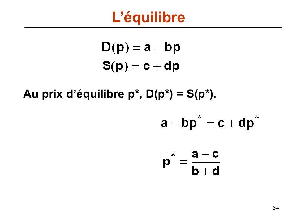 64 Au prix déquilibre p*, D(p*) = S(p*). Léquilibre
