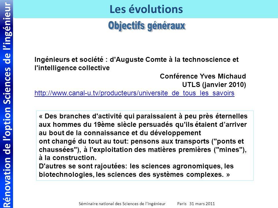 Rénovation de loption Sciences de lingénieur Séminaire national des Sciences de lIngénieur Paris 31 mars 2011 Les évolutions Ingénieurs et société : d