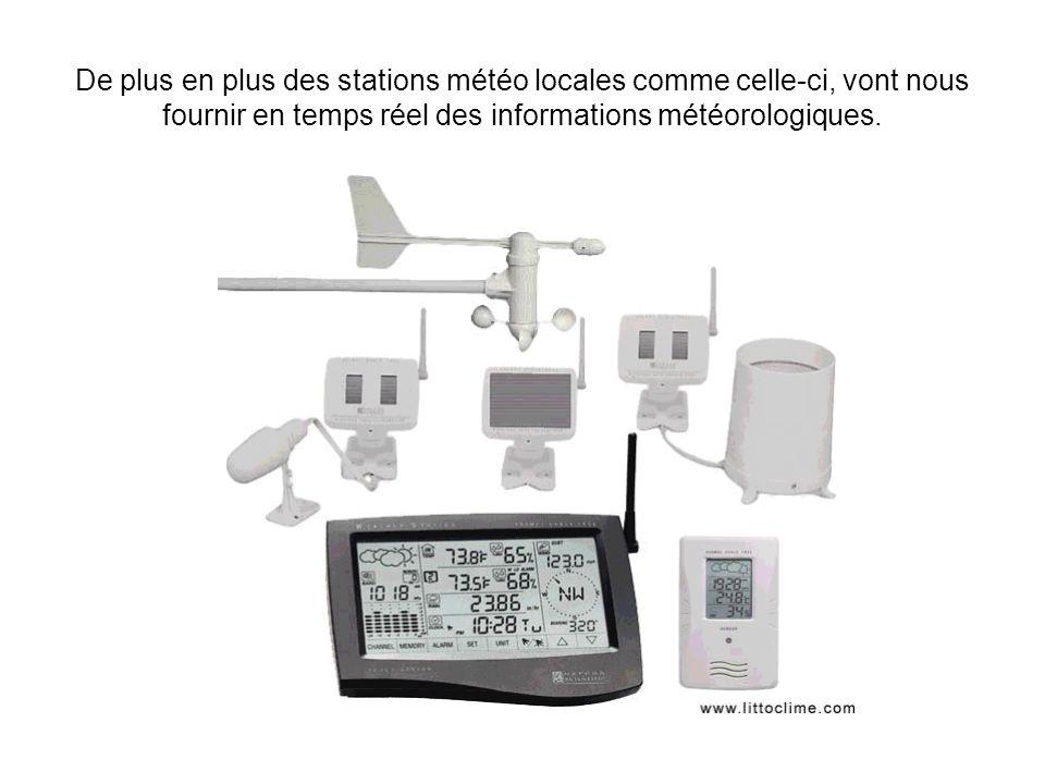 De plus en plus des stations météo locales comme celle-ci, vont nous fournir en temps réel des informations météorologiques. STATION METEOROLOGIQUE