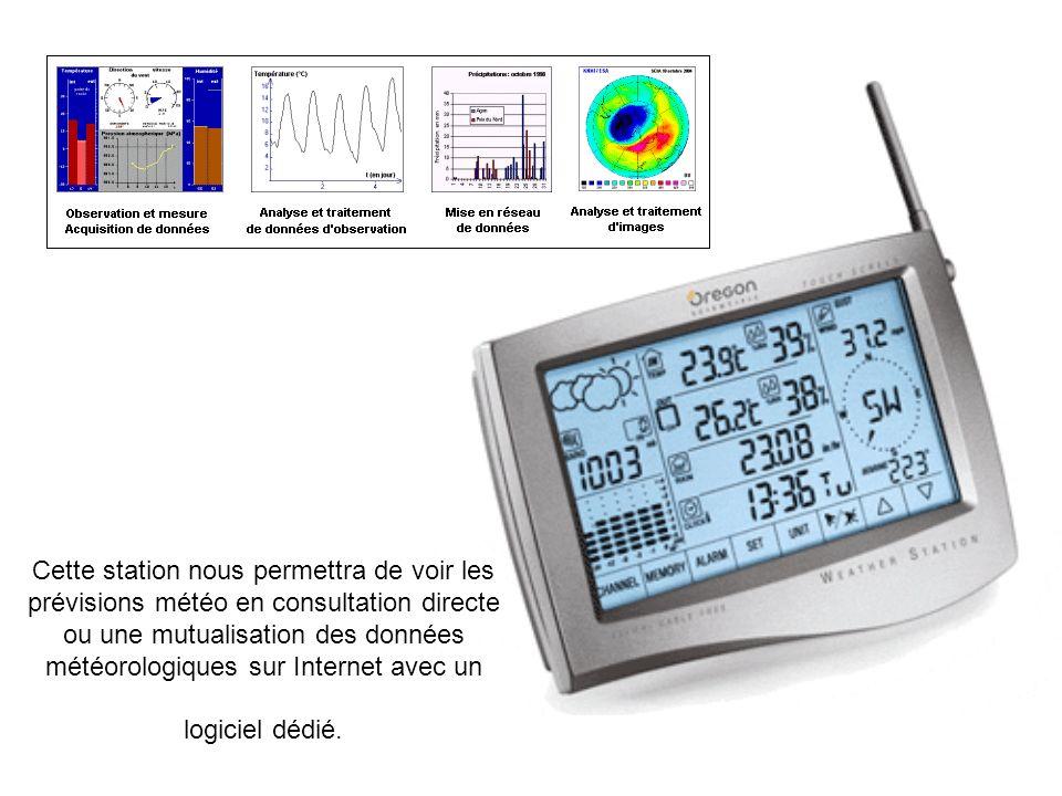 Cette station nous permettra de voir les prévisions météo en consultation directe ou une mutualisation des données météorologiques sur Internet avec u