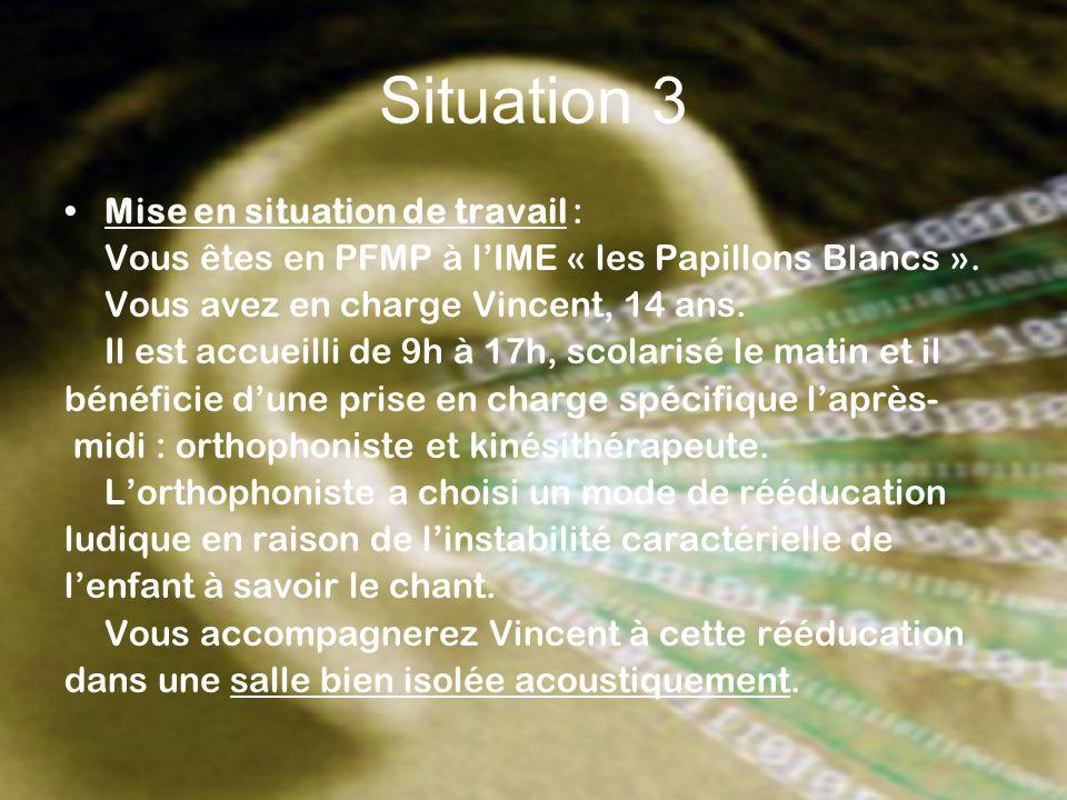 Situation 3 Mise en situation de travail : Vous êtes en PFMP à lIME « les Papillons Blancs ». Vous avez en charge Vincent, 14 ans. Il est accueilli de