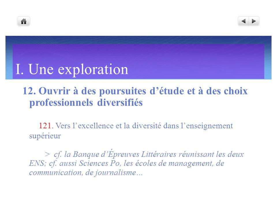 I. Une exploration 12. Ouvrir à des poursuites détude et à des choix professionnels diversifiés 121. Vers lexcellence et la diversité dans lenseigneme