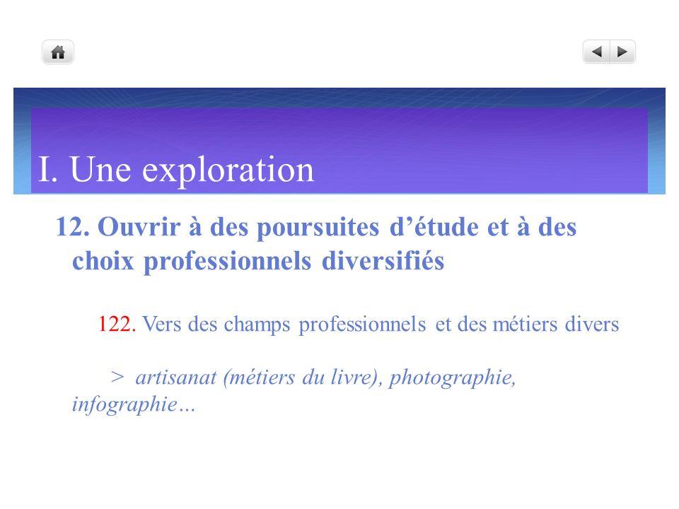 I. Une exploration 12. Ouvrir à des poursuites détude et à des choix professionnels diversifiés 122. Vers des champs professionnels et des métiers div