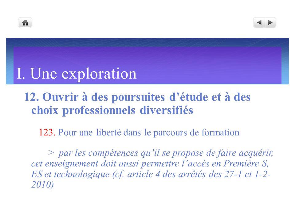 I. Une exploration 12. Ouvrir à des poursuites détude et à des choix professionnels diversifiés 123. Pour une liberté dans le parcours de formation >