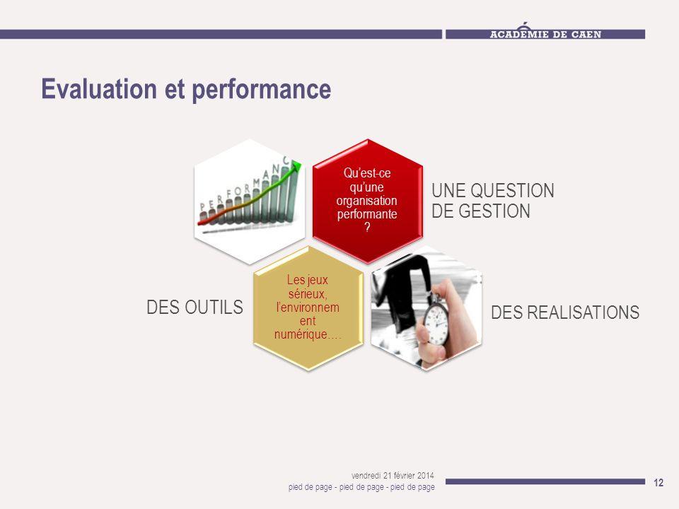 Evaluation et performance vendredi 21 février 2014 pied de page - pied de page - pied de page 12 Quest-ce quune organisation performante ? UNE QUESTIO