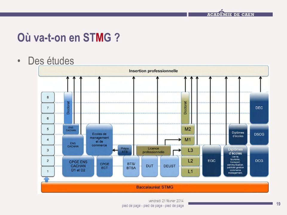 Où va-t-on en STMG ? Des études vendredi 21 février 2014 pied de page - pied de page - pied de page 19