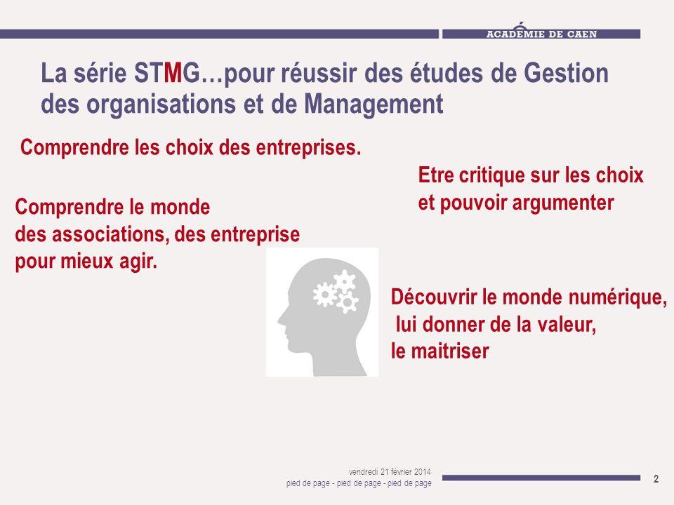 La série STMG…pour réussir des études de Gestion des organisations et de Management vendredi 21 février 2014 pied de page - pied de page - pied de pag