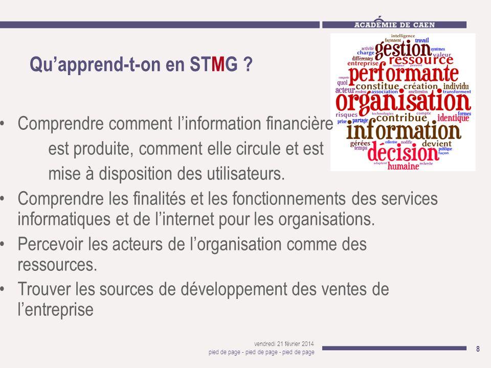 Quapprend-t-on en STMG ? vendredi 21 février 2014 pied de page - pied de page - pied de page 8 Comprendre comment linformation financière est produite