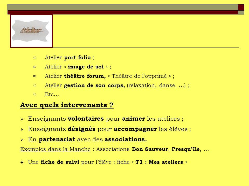 Atelier port folio ; Atelier « image de soi » ; Atelier théâtre forum, « Théâtre de lopprimé » ; Atelier gestion de son corps, (relaxation, danse, …) ; Etc… Avec quels intervenants .