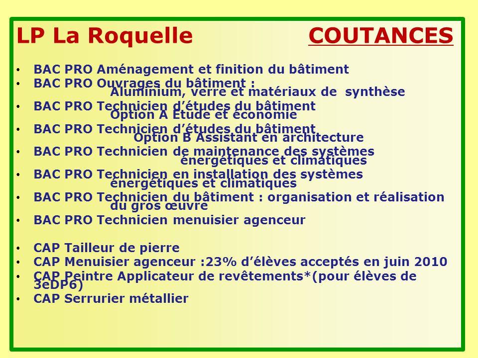 LP La Roquelle COUTANCES BAC PRO Aménagement et finition du bâtiment BAC PRO Ouvrages du bâtiment : Aluminium, verre et matériaux de synthèse BAC PRO