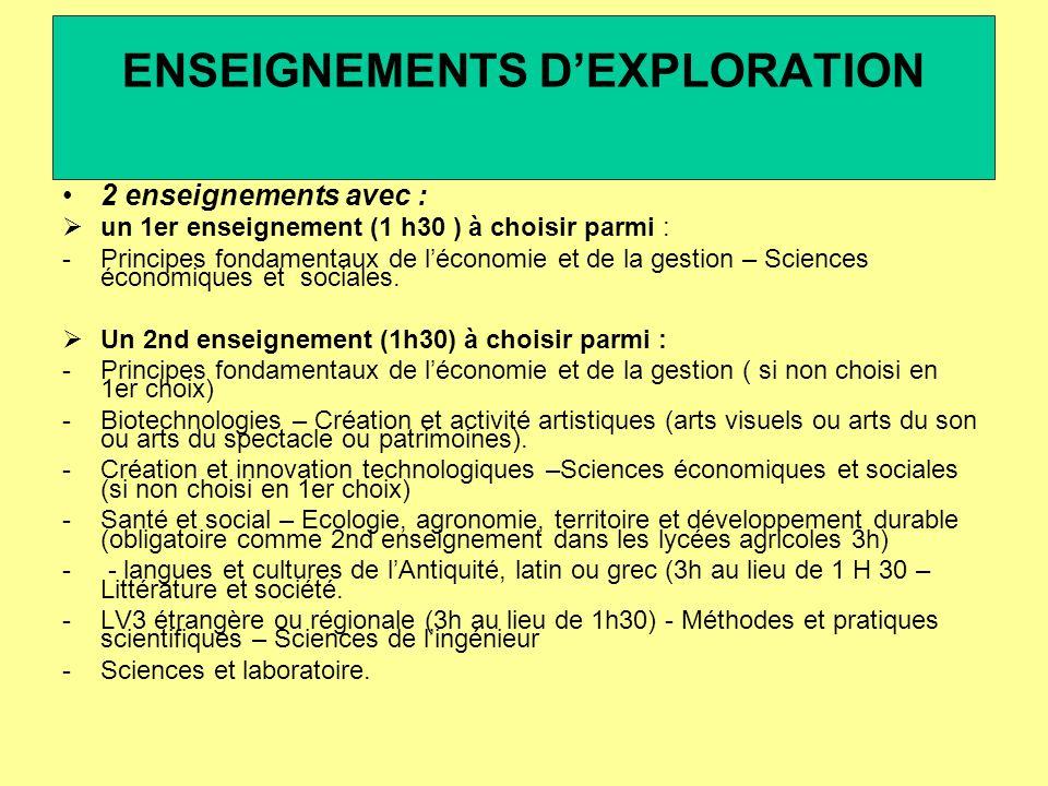 2 enseignements avec : un 1er enseignement (1 h30 ) à choisir parmi : -Principes fondamentaux de léconomie et de la gestion – Sciences économiques et sociales.