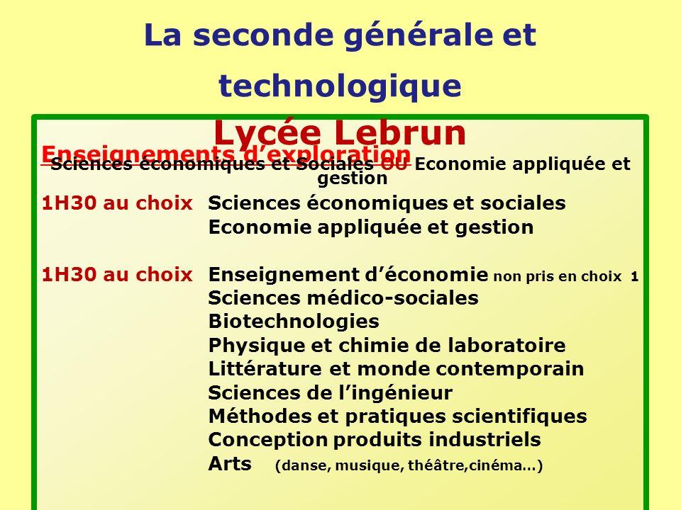 La seconde générale et technologique Enseignements dexploration 1H30 au choixSciences économiques et sociales Economie appliquée et gestion 1H30 au ch