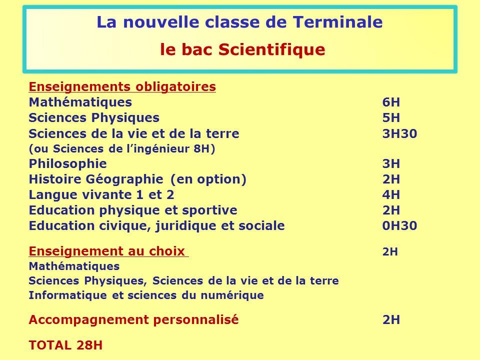 La nouvelle classe de Terminale le bac Scientifique Enseignements obligatoires Mathématiques6H Sciences Physiques5H Sciences de la vie et de la terre3