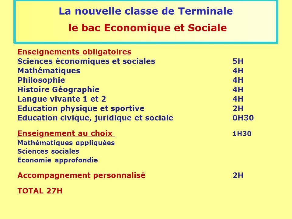 La nouvelle classe de Terminale le bac Economique et Sociale Enseignements obligatoires Sciences économiques et sociales5H Mathématiques4H Philosophie