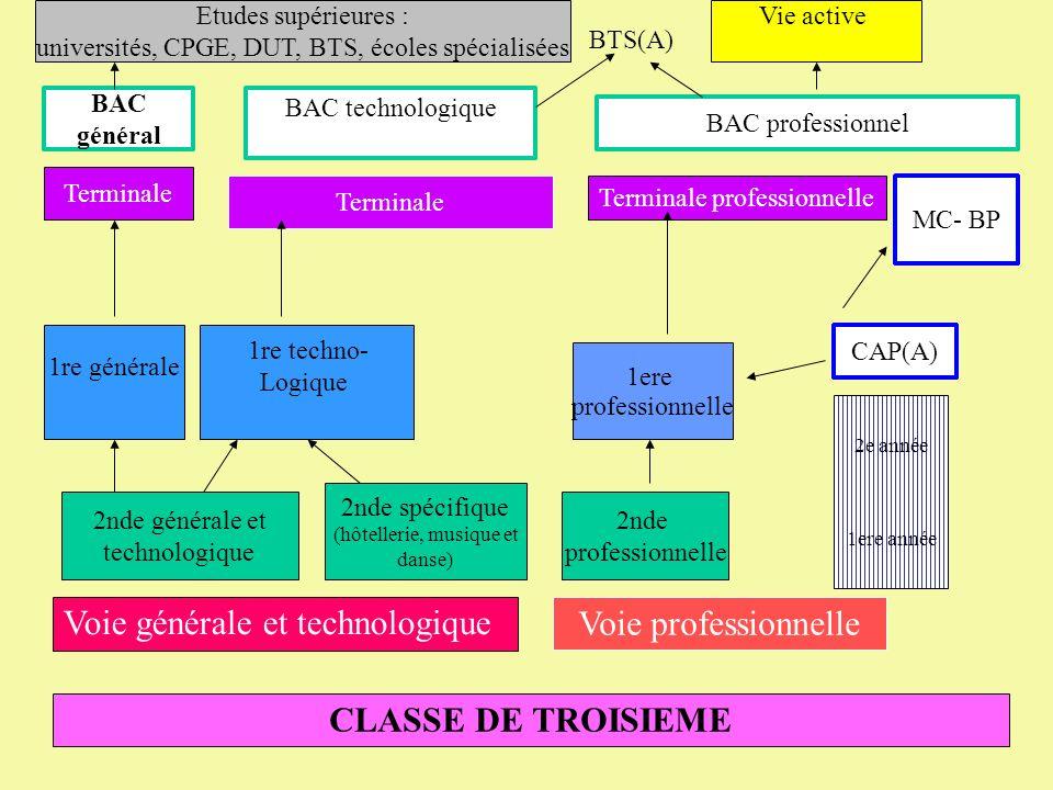 CLASSE DE TROISIEMEVoie professionnelle 2nde générale et technologique 1re générale 1re techno- Logique Terminale BAC général BAC technologique Etudes