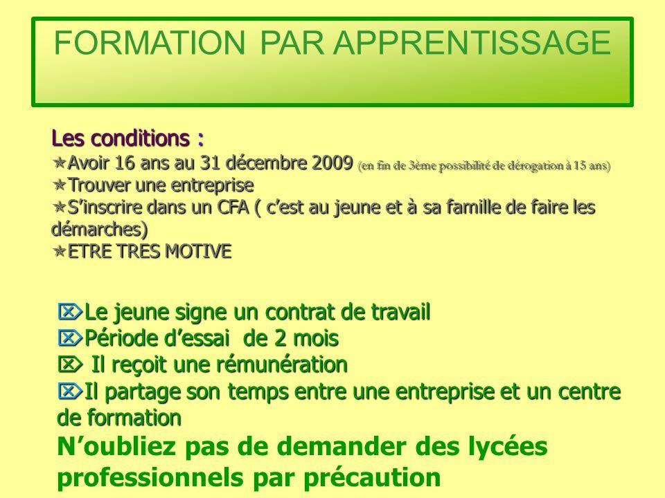 Les conditions : Avoir 16 ans au 31 décembre 2009 (en fin de 3ème possibilité de dérogation à 15 ans) Avoir 16 ans au 31 décembre 2009 (en fin de 3ème