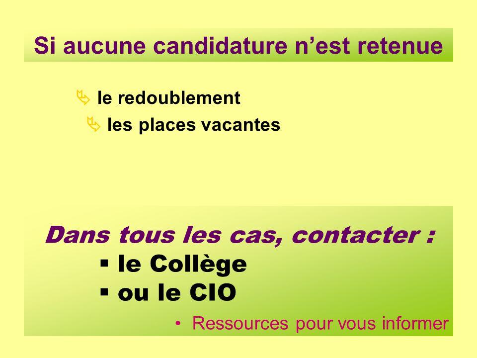 Si aucune candidature nest retenue Dans tous les cas, contacter : le Collège ou le CIO Ressources pour vous informer le redoublement les places vacant
