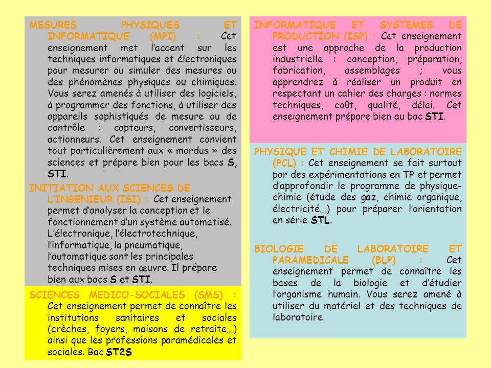 MESURES PHYSIQUES ET INFORMATIQUE (MPI) : Cet enseignement met laccent sur les techniques informatiques et électroniques pour mesurer ou simuler des mesures ou des phénomènes physiques ou chimiques.