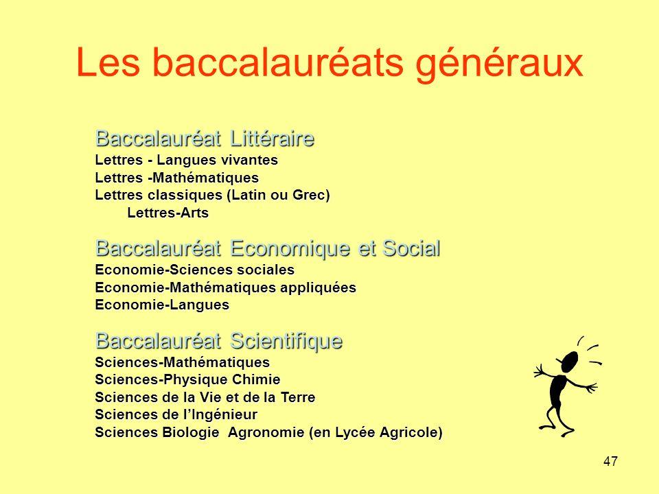 Les baccalauréats généraux 47 Baccalauréat Littéraire Lettres - Langues vivantes Lettres -Mathématiques Lettres classiques (Latin ou Grec) Lettres-Art