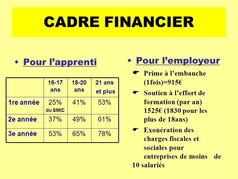 CADRE FINANCIER Pour lapprenti Pour lemployeur Prime à lembauche (1fois)=915 Soutien à leffort de formation (par an) 1525 (1830 pour les plus de 18ans